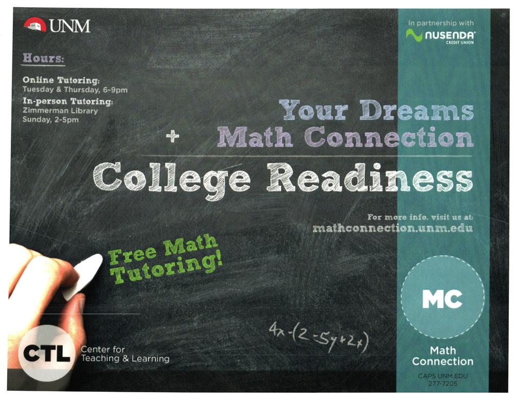Image of UNM Flyer for Math Connection Free Math Tutoring. Visit caps.unm.edu or call 505-277-7205 for more information